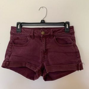 SIZE 4 MAROON HIGH RISE AMERICAN EAGLE SHORTS